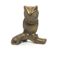 VINTAGE Brass Owl On Branch, Russ Owl, Owl Ornament, Solid Brass Owl on Branch, Owl Figurine, Owl Paperweight