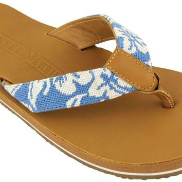 Hibiscus Needle Point Flip Flops in Tan Leather by Smathers an Branson