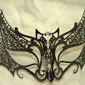 Beautiful Black Bat Masquerade Laser Cut Mask with Rhinestones