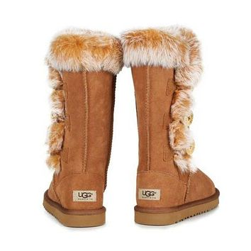 """UGG"" Winter Popular Women Warm Fur Wool Snow Boots Half Boots Shoes Brown I/A"