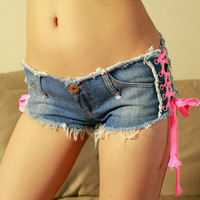 Buy MATITA Lace-Up Denim Hot Pants | YesStyle