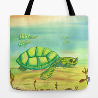 River Turtle Tote Bag, Green watercolor ocean design beautiful, mom, gift, allover print accessories