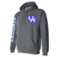 UK Interlock on a Dark Heather Hoodie