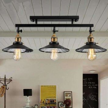 Vintage Metal Pendant Chandelier Ceiling Lamp Europe warehouse loft industrial suspension lamp E27 base lighting fixture