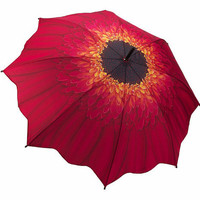 Red & Orange Gerbera Daisy Umbrella - Unique Vintage - Bridesmaid & Wedding Dresses