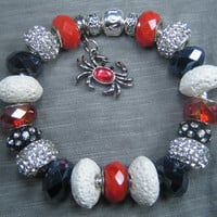 Black, White and Red With Crab Charm Bracelet