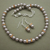 Classic Gray Pearl Beaded Strand Necklace Set