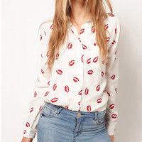 Women's Button Down Kisses Chiffon Long Sleeve Collar Blouse