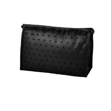 Rosallini Pure Black Lace Dots Mesh Makeup Cosmetic Hand Bag Pouch Blusher Mascaras Holder