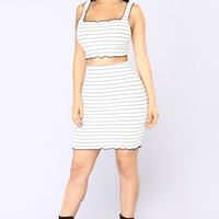 During The Day Striped Set - White/Black