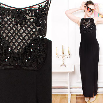 Black Sequin Dress 90s Cocktail Strap Long Vintage 1990s Scott McClintock