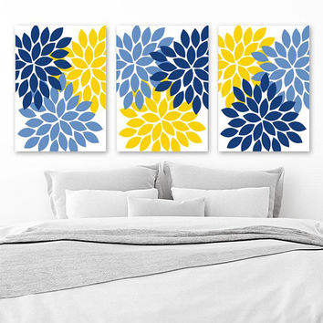 Navy Blue Yellow Bedroom Wall Decor, Yellow Navy Blue Flower Wall Art, CANVAS or Prints, Flower Bathroom Decor, Flower Petals, Set of 3