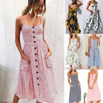 Womens Summer Boho Strappy Button Beach Midi Swing Sundress Long Maxi Dress US