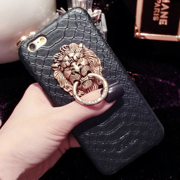 Metal 3D Lion Head Case For iPhone 5/5s Snake Skin Stand Protective Back Cover Black