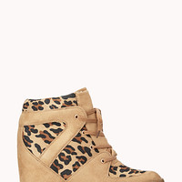 FOREVER 21 Wild Thing Wedge Sneakers Taupe/Black