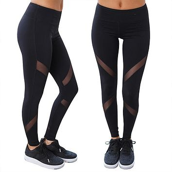 NORMOV S-XL Women Sexy High Waist Mesh leggings Fashion Breathable Black Jeggings Polyester Activewear Workout Leggings