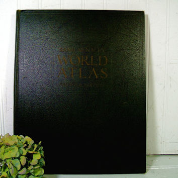 Rand McNally World Atlas Premier Edition Copyright 1932 Gazetteer-Index of the World Numerous 3 Color Maps of the World - Antique Atlas Book