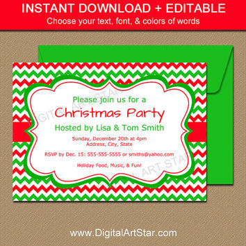 EDITABLE Holiday Invitation Template - Red & Green Chevron Xmas Invitations - Printable Christmas Invites - Christmas Digital Download