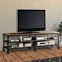 """Industrial Style 81"""" TV Stand And Entertainment Center With Mesh Bottom Shelf, Brown & Black"""