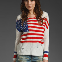 UNIF Flag Religion Sweater in Red/White/Blue at Revolve Clothing