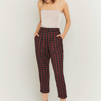 Urban Renewal Vintage Remnants Navy Checked Trousers - Urban Outfitters
