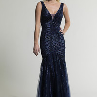Dave & Johnny 256 Navy Sequin Open Back Prom Dresses Online