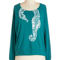 ModCloth Quirky Mid-length Long Sleeve Happily Ever Estuary Top