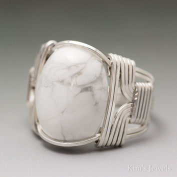White Howlite Cabochon Sterling Silver Wire Wrapped Ring