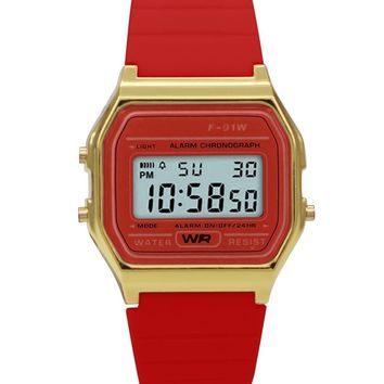 Sporty Red Silicon Digital Watch