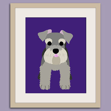 Schnauzer dog art print. Puppy dog themed nursery art for kids. Children dog art from painting. 11x14 print by WallFry