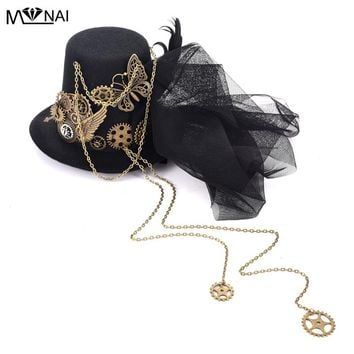 Mens Fedora Hat Steampunk Fascinator Mini Top Hat Hair Clip Punk Gothic Gear Wings Clock Butterfly Decoration Headpiece