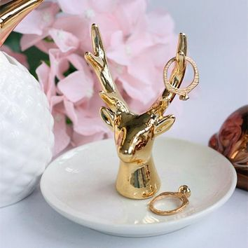 Gold Deer Horns Jewelry Plate