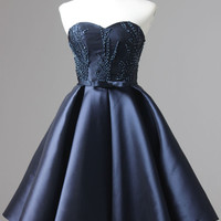 2016 Mini Homecoming Dress Blue Beading Stitching Satin Wedding Bow Tube A-line Dress
