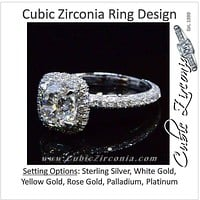 Cubic Zirconia Engagement Ring- The ________ Naming Rights 1625 (1.70 or 2.95 TCW Cushion Cut Halo with Pave Band)