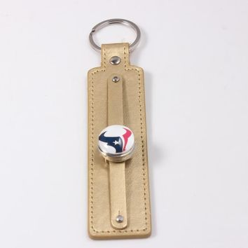 Keychain Jewelry Houston Texans Keychain 18mm Snap Button Charms Car Key Ring PU Leather Key Chain for Women Men Gift