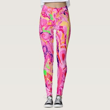 Cute colorful abstract swirls paint leggings