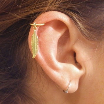 Gold Cartilage Hoop Silver Feather Earring Boho Tragus Helix Piercing