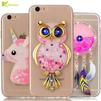 Unicorn Glitter Liquid Case for iPhone 6 Cover for iPhone 6 6s Plus Cases Dynamic Cute Cartoon OWL Dreamcatcher Soft Phone Cases