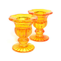 Amber Glass Daisy Candle Holders (2) - Retro Marigold, Flower Shape, Pedestal Cups - Holds Votive or Taper Candles - Vintage Home Decor