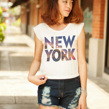 New York Tee T Shirt Women TShirt for Women Clothing New York Skyline Tumblr Tank Crop Tops Hipster