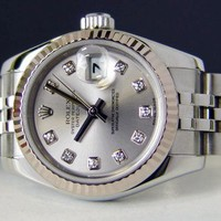 Rolex Lady Datejust Gold Steel Silver Diamond Dial 179174 Jubilee - WATCH CHEST