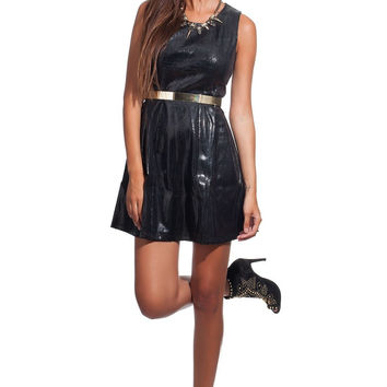 Q2 Black Leather Look High Shine Dress