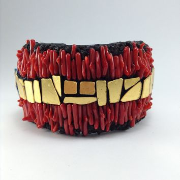Ocean View Coral, Venetian Gold and Lava Cuff Bracelet