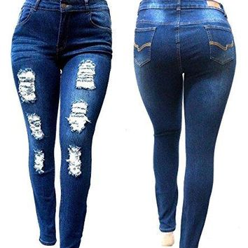 SL 1826 Womens Plus Size Stretch Distressed Ripped Blue Skinny Denim Jeans Pants (14)