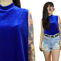 vintage 90s blue velvet mock neck tank top cyber grunge minimalist slouchy shirt top tunic soft grunge industrail raver electric blue Medium