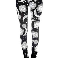 Black and White Sun and Moon Leggings