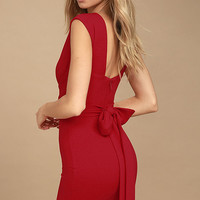 River Deep Red Bodycon Dress