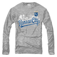 Kansas City Royals Majestic Threads Skyline Tri-Blend Long Sleeve T-Shirt – Ash