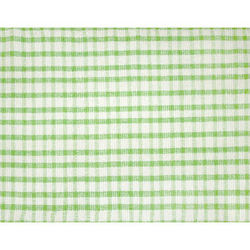 Plaid Rag Green, White Cotton Rag Rug