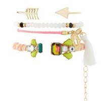 Multi Stackable Mixed Media Bracelets - 4 Pack by Charlotte Russe